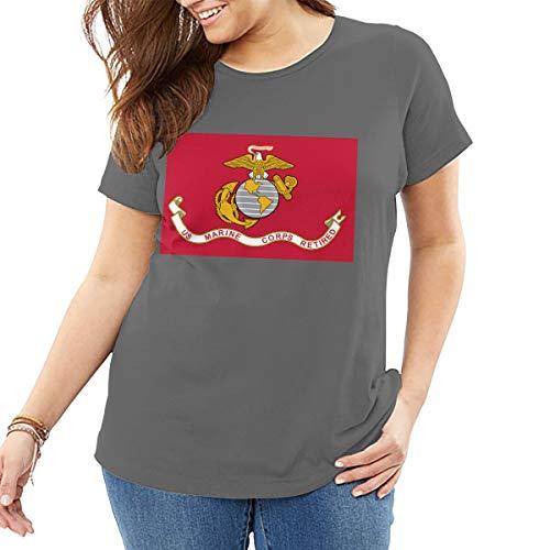 Marine Corps Flag, Damen T Shirt Baumwolle T Tops Freizeithemd Street Wear -