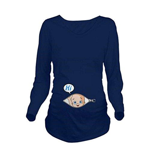 Yvonnelee Witzige lustige Umstandsmode T-Shirt Langarm Baby on Board Baby Guckt Raus - Stretch-Shirt Wächst mit Dem Bauch Blau-XXL