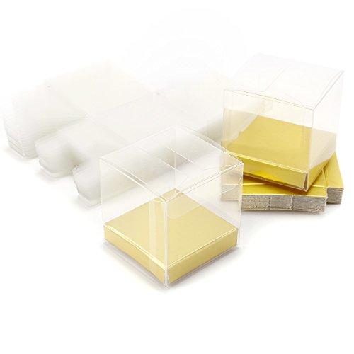 Lederpolster 5cmx 5cmx 5cm Luxus Klar PVC Kunststoff Cube Geschenk Verpackung Box Hochzeit für Sweet (Klare Pvc-boxen)