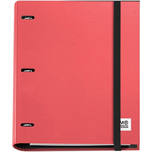 miquel-rius-3ring-refillable-binder-and-100-sheets-of-paper-red-acrylic-multicoloured