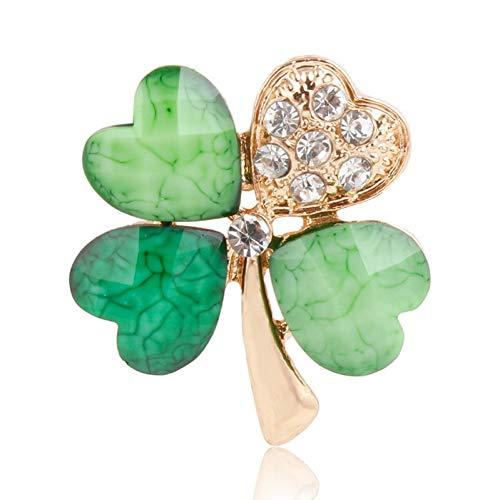 Irish Shamrock Strass (HUNANANA Hellgrünes Blatt Crystal Irish Shamrock Brosche Revers Kragen Pins Für Männer Oder Frauen)