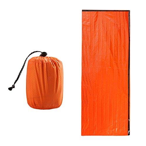 Zmoon sacco a pelo di emergenza, sacco a pelo leggero di emergenza bivvy di emergenza da 2 pacchi per campeggio e escursionismo all'aperto, arancione