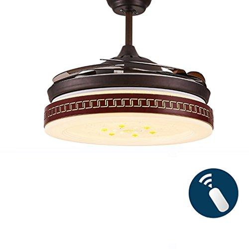 Deckenventilator Licht unsichtbar Ventilator Lights Restaurant Wohnzimmer Schlafzimmer mit Ventilator Ventilator Leuchten Kronleuchter moderner Haushalt Ventilator Lichter, 36/42 Zoll, drei Farben, 48 W/72 W Xuan-Wert haben (Farbe: Fernbedienung, Größe: 91 cm (36 Zoll) - 48 Rahmen Motor