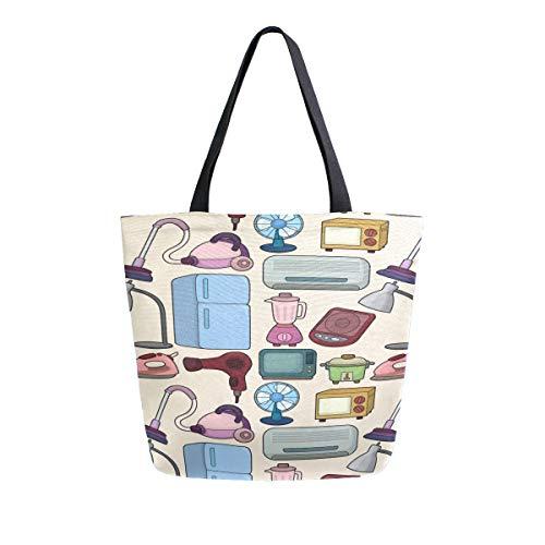 Kühlschrank Elektrische Muster Tragbare Große Doppelseitige Casual Leinwand Tragetaschen Handtasche Schulter Wiederverwendbare Einkaufstaschen Reisetasche Für Frauen Männer Lebensmittelgeschäft Reise