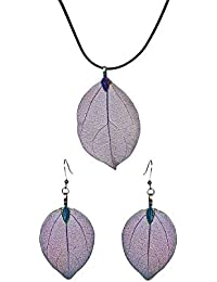 Saphira Premium Quality Real Dry Leaf Necklace Chain Pendant With Earrings Trendy Bohemian Jewellery Set-