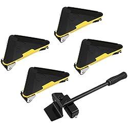 5 Pièces Kit de Déplacement de Meuble Kit Levier et Chariot de Meubles sur Roulettes Meubles de Transport Roller