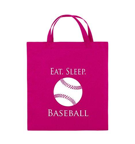Comedy Bags - EAT. SLEEP. BASEBALL - BALL - Jutebeutel - kurze Henkel - 38x42cm - Farbe: Schwarz / Silber Pink / Weiss