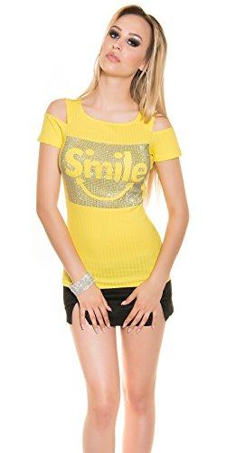 Ripp-Shirt mit Glitzer-Verzierung und Schulter-Schlitz Gelb