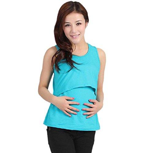 Ineternet Enceinte Vêtements de Maternité Nursing Tops T-shirt Allaitement Vest Bleu Ciel