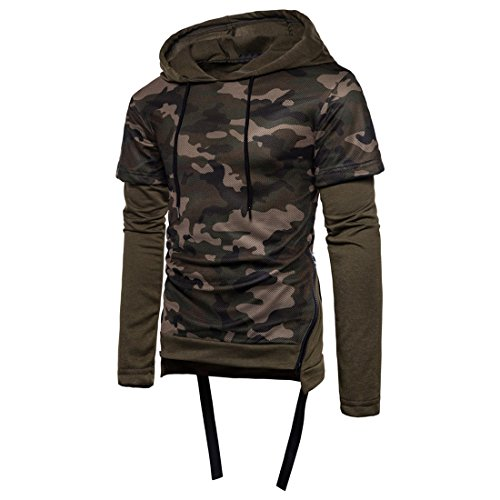 Herren Kapuzenpullover Camouflage Btruely Männer Hoodie Pullover Langarm Mantel Männer Hooded Sweatshirt Outwear (L, Armee Grün) (Sweatshirt Armee Hooded)