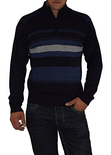 S&LU toller Herren-Feinstrick-Pullover mit Stehkragen und Reißverschluss im zeitlosen Streifen-Design Größe L-XXXL (3XL) Blau