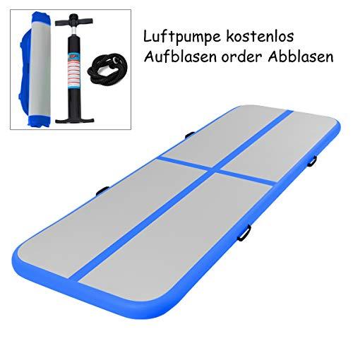 COSTWAY Air Track Aufblasbar Gymnastikmatte Tumbling Matte Air Bodenschutzmatte für Gym Training Yogamatte Trainingsmatten Weichbodenmatte Turnmatte Fitnessmatte Tragbar (Blau, 300x100x10cm)