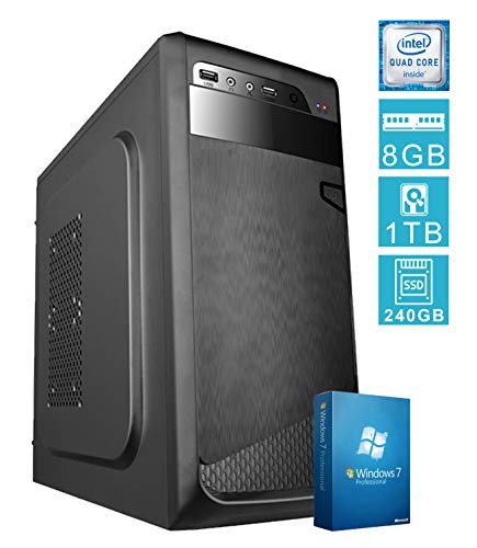 PC DESKTOP COMPUTER FISSOSSD E LICENZA WINDOWS 7 PROASSEMBLATO COMPLETO Intel QUAD-CORE fino a 2.3 GHZRAM 8GBSSD + HD 1TBDILC GREEN HIGH