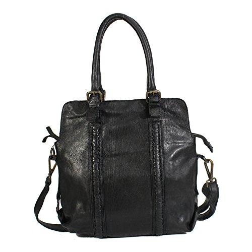 5d6f4f985c02c Damen Handtasche Vintage Hochwertige Leder Schultertasche Umhängetasche  Vintage-Look Damentasche echt Leder Schwarz