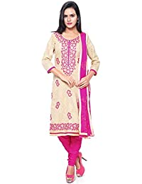 KANCHNAR Women's Cotton Dress Material (448D4004_Free Size_Beige and Pink)