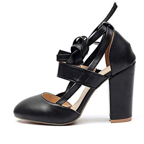 LiXiZhong Frauen High Heels - Süße Runde Kopf Schuhe Bequem Dick Mit Sandalen Hochzeit Schuhe (Farbe : Schwarz, größe : ()