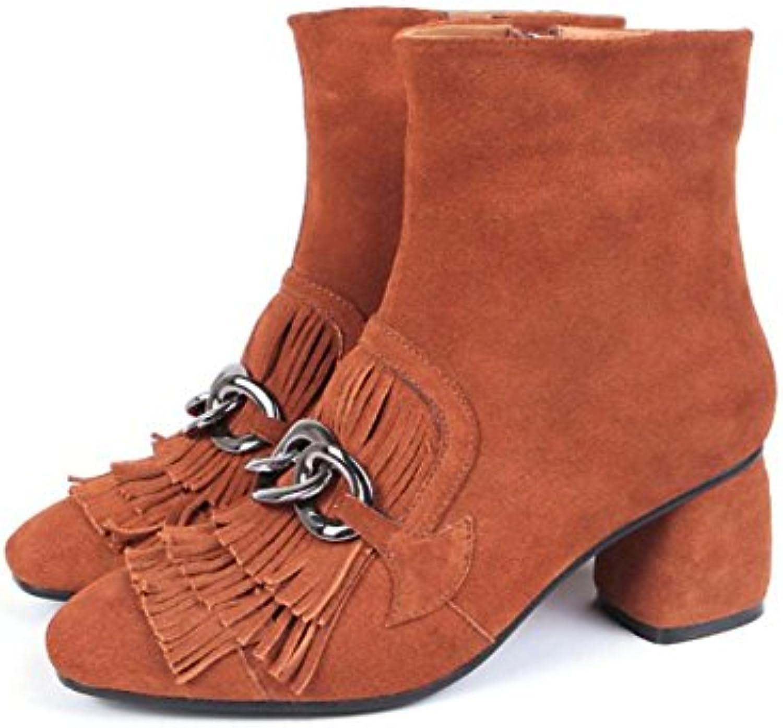 NVXUEZIX Hiver Chaud Femmes Chaussures en en Chaussures Cuir Véritable Zipper Tassle Boucle en Métal Chunky Talons Martin Bottes 124d30