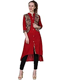 Saatvikk Creations Rayon Cotton Marron Kurti For Women & Girls