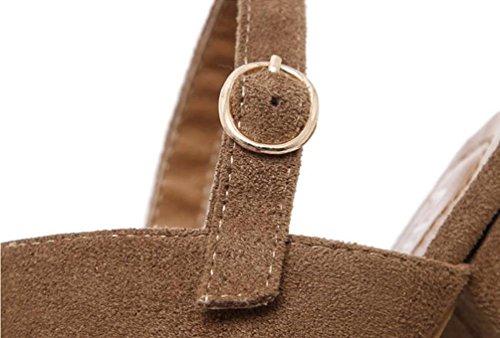 OL Sandali Scrub Cintura Fibbia Heavy Heel Alta Tuta Cinghie Ankle Hollow Casual Scarpe Donna Scarpe UE Taglia 35-39 light brown