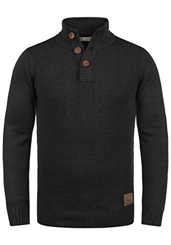 !Solid Travon Herren Strickpullover Troyer Feinstrick Pullover Mit Stehkragen Und Knopfleiste, Größe:M, Farbe:Black (9000)