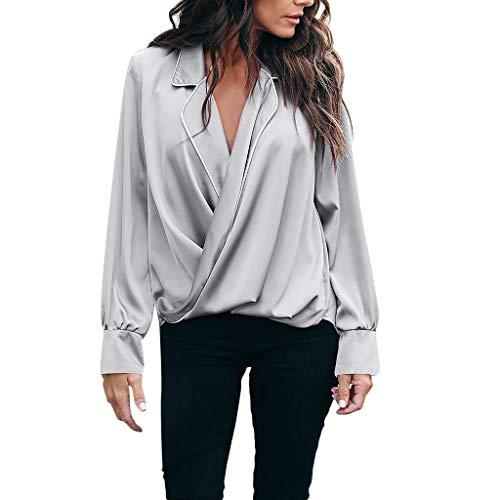 ze Hemd Sexy tiefes V-Ausschnitt Solides Langarm-Top Tägliche Arbeit Lose Bluse Oversize(L(42),Grau) ()