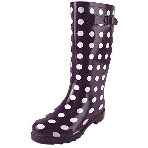 Ladies Festival Rain Snow Spotted Wellies Black or Purple Spot Wellington Boots