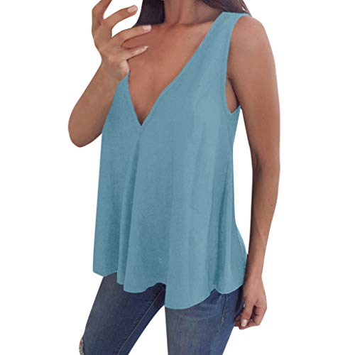 2019 V-Ausschnitt Tank Top Ärmelloses T-Shirt Sommer Weste, Chic WUDUBE Classic Solid Color Bluse Plus Größe ()