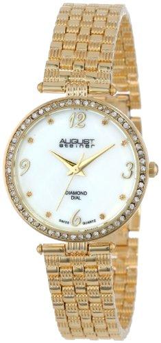 August Steiner Reloj de pulsera de Gold-tone de nácar Diamante para Mujer