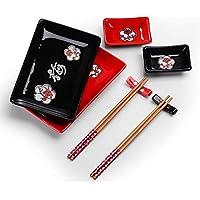 Panbado Vajilla de Sushi de Cerámica 8 Piezas para 2 Personas Juegos de Sushi de Porcelana Estilo Japonés, 2 Platos, 2 Platillos de Salsa, 2 Soportes de Palillos, 2 Pares de Palillos - Rojo y Negro