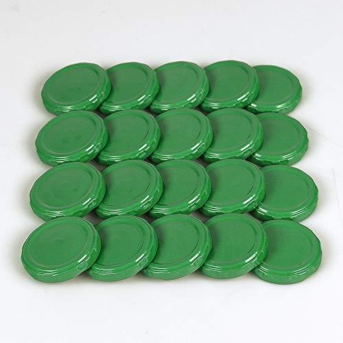 Hartmut Bauer e.K. 20 St. Twist-Off-Deckel 48 mm grün PVC-frei mit Button für Glasflaschen, Milchflaschen, Saftflaschen, Einmachgläser, Marmeladengläser und Sturzgläser to 48