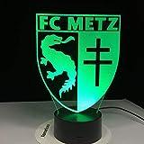 Mmzki 3D Fußball Lampe Fc Metz Club Logo 7 Bunte Tabelle Led Nachtlicht Beste Geschenk Für Kinder Papa Freunde Drop Shipping Geburtstagsgeschenk