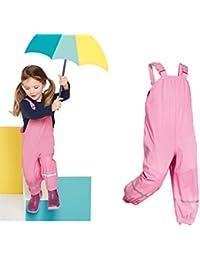 LIKDAY Pantalones de lluvia para niños, pantalones impermeables para la lluvia al aire libre 100% para niñas con correas ajustables y anillas para zapatos