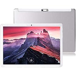 Tablet da 10 pollici Android 7.0, processore Octa-Core, 2 GHz, 64 GB di archiviazione, 4 GB di RAM, doppia fotocamera, WiFi, GPS, Bluetooth 4.0,1280 x 800 IPS Ultra Slim 3D Game supportato (Argento)