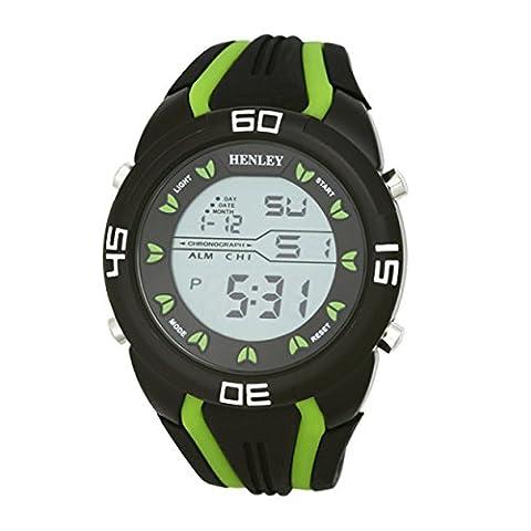 Henley Digital Sport-Chronograph mit Silikonband Men'Digital Uhr mit Grau Dial Digital Display und HDG02111 Silikon) Grün