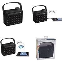 Haut-parleur Bluetooth portable avec microphone (Mini Boîte de Musique, radio FM, Kit mains libres pour téléphone portable, aux in, port USB, compatible pour tous les smartphones, noir)