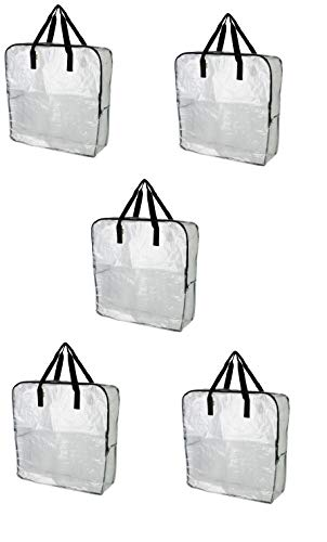 Ikea DIMPA Extra große Aufbewahrungstasche, durchsichtige strapazierfähige Taschen, Mottenfeuchtigkeits-Aufbewahrungstasche Pack of 5, 25 ½x8 ¾x25 ½ farblos