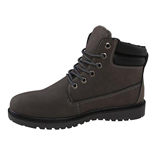 Gefütterte Herrenschuhe Outdoorschuhe Profilsohle Herren Worker Boots Outdoor Stiefeletten Flandell Grau Avelar