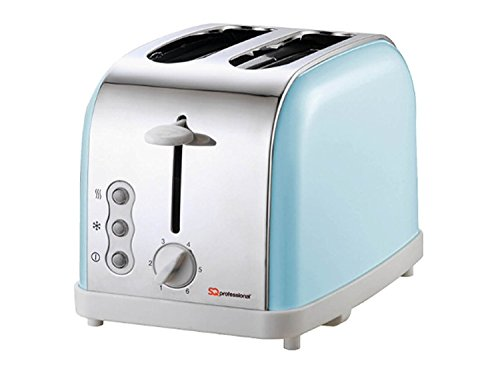 Matching Kitchen Set of Four items: Toaster, Kettle, Bread bin and canisters and Mug Tree and Kitchen Roll Holder Stand Set in Light Blue, Pink or Mint Green (Light Blue)