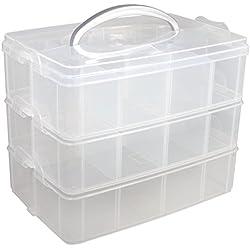 Rayher Boite de Rangement avec Poignée de Transport Boite de Rangement à 17 Compartiments, 23,1 x 15,6 x 18,5cm, Transparent