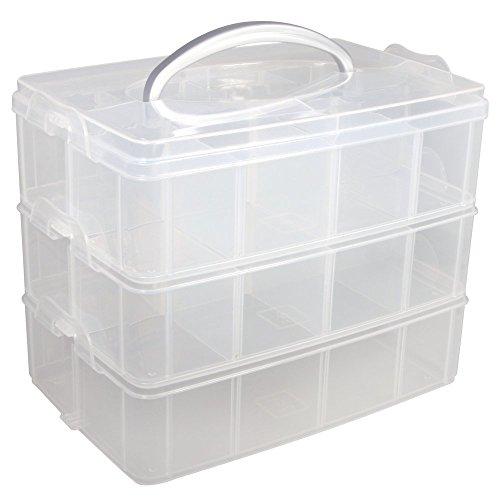 Rayher 39320000 Sortierbox mit Tragegriff, 3 Etagen mit insg. 17 Fächern, 23,1 x 15,6 x 18,5 cm