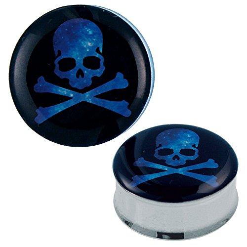 chic-net-plug-tunnel-pirate-skull-acier-bleu-acrylique-expander-piercing-acier-chirurgical-12-mm