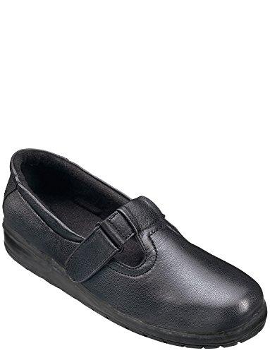 Cuir T Bar Shoe Noir