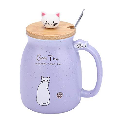 Keramische Schale Schöne Katze Fest mit Löffel und Holzdeckel Kaffee Wasser Milch Becher für Drink Geschenk Büro(Lila) (Lila Becher Tasse)