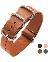 Bracelet Montre Femme Homme Nato Bracelet 20mm en Cuir Véritable 896ef6d85a2