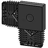 Aluminium onderconstructie systeem 20/60 aluminium zwart geanodiseerd, 2.000 x 20 x 60 mm (L-connector kunststof, zwart)