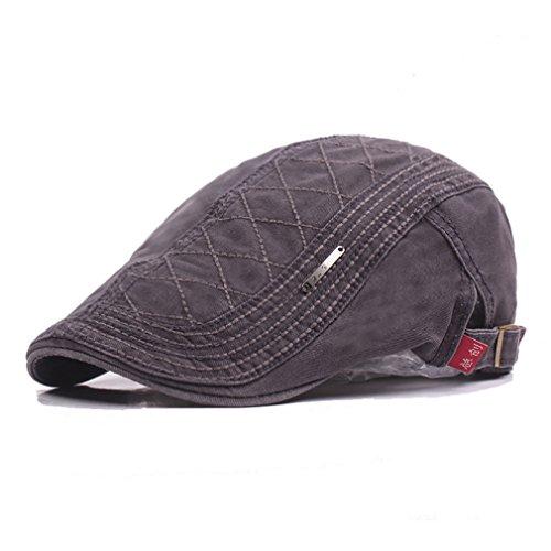 RICHTOER Retro Berets England Cotton Newsboy Cap Flat Caps Hunting Hat  Autumn Outdoors (Grey) fe5f6f21bc1c