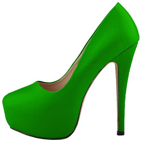 HooH Femmes Stiletto Plateforme Talon haut Robe Escarpins Mariage Chaussures a enfiler Vert