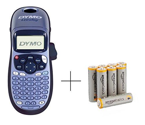 Dymo S0883990 LetraTag LT-100H Etikettendrucker Handgerät, blau & AmazonBasics Performance Batterien Alkali, AA, 8 Stück (Design kann von Darstellung abweichen)