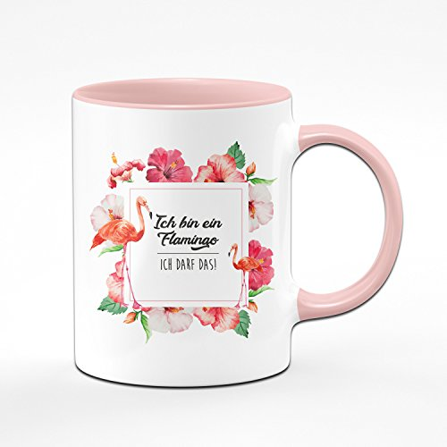 Flamingo Tasse - Ich Bin Ein Flamingo Ich DARF Das! - Kaffetasse Rosa - lustige Tassen - Geschenkideen für Frauen - Flamingo Rahmen