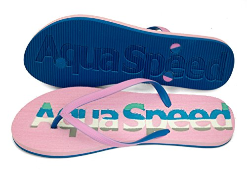 AQUA-SPEED® MOLUKI Donne Flip Flops | Adulti | Calzature da Spiaggia | Sandali | Pool Pattini | 36-41 Rosa / blu